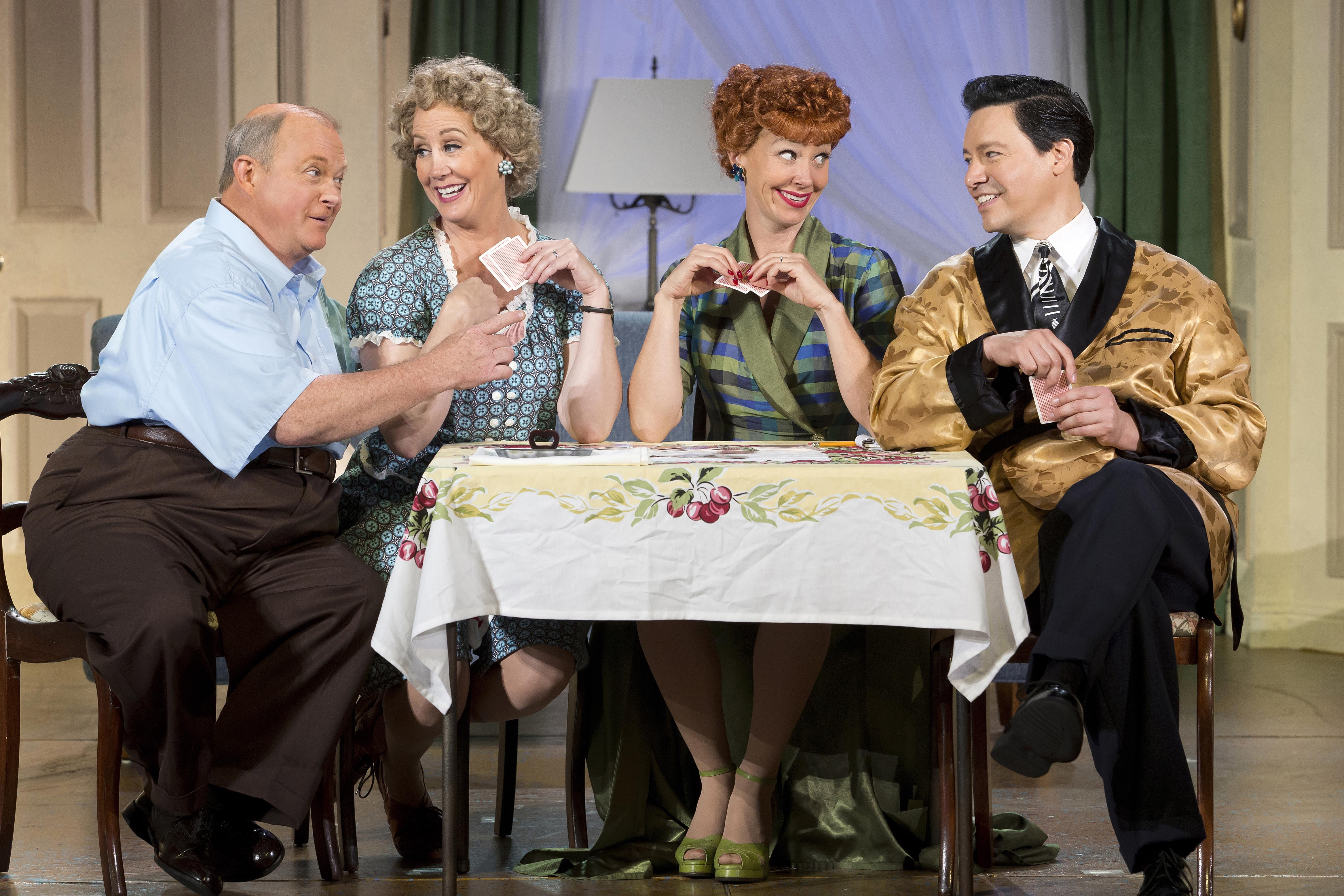 Kevin Remington (Fred), Joanna Daniels (Ethel), Sirena Irwin (Lucy), and Bill Mendieta (Ricky) in I LOVE LUCY® LIVE ON STAGE copy