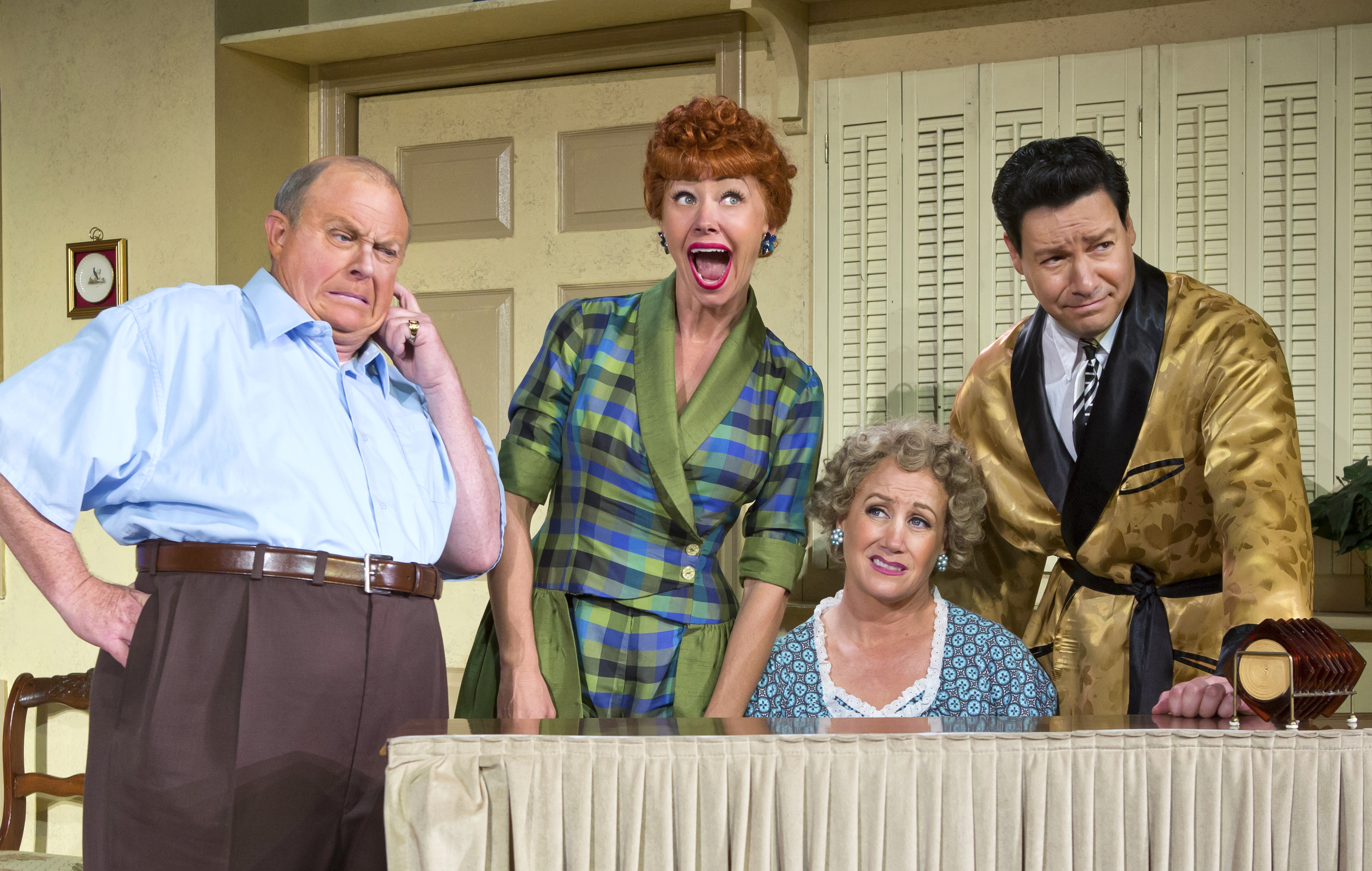 Kevin Remington (Fred), Sirena Irwin (Lucy), Joanna Daniels (Ethel) and Bill Mendieta (Ricky) in I LOVE LUCY® LIVE ON STAGE